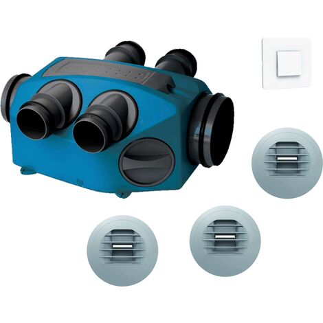 Kit VMC simple flux hygroreglable + bouton poussoir - INFINITY T3-T7+ Piles NATHER - 549359BP Kit VMC INFINITY avec bouton poussoir pour bouche cuisine