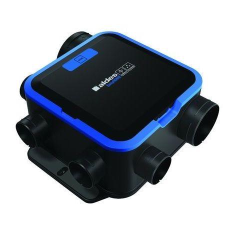 Kit VMC simple flux hygroréglable - EasyHOME HYGRO COMPACT PREMIUM MW ALDES - 11033051 Kit avec centrale VMC + 1 bouche cuisine à déclenchement par bouton poussoir 9V (non fourni) + 1 bouche SDB + 1 bouche WC à détection de présence