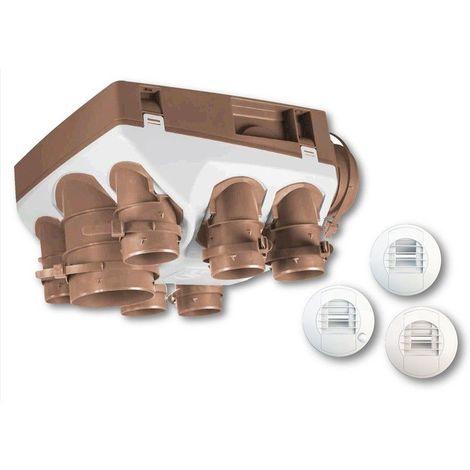 Kit VMC Unelvent - Ozeo ST KHB T3/7 P - Simple Flux Hygroréglable - 7 piquages - Blanc - 438 x 438 x 259
