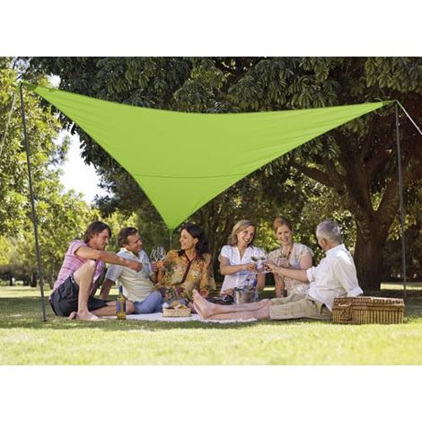 Kit voile d\'ombrage triangulaire 3,60 x 3,60 m - Vert pomme
