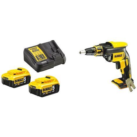 KIT XR DCB115P2 Kit 2 Baterías 18V Li-Ion 5,0Ah y Cargador + DCF620NT Atornillador Panel yeso + DCH133NT Martillo sin escobilla