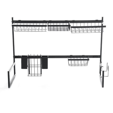 Kitchen 2 Tier Over Sink Drying Dish Rack Drainer Shelf Stainless Steel 85cm