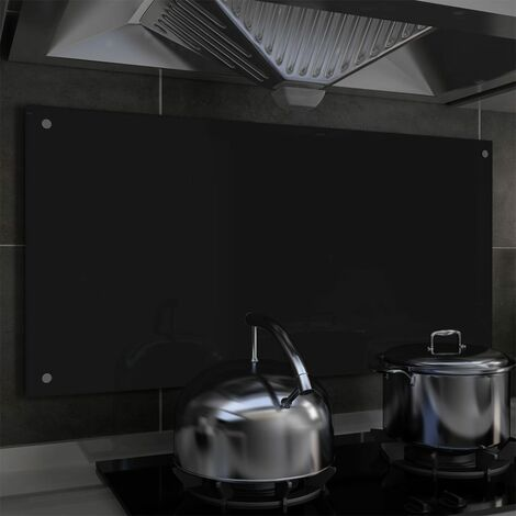 Kitchen Backsplash Black 100x50 cm Tempered Glass