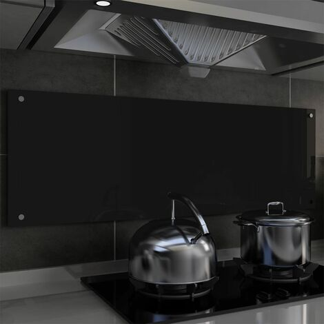 Kitchen Backsplash Black 120x40 cm Tempered Glass