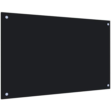 Kitchen Backsplash Black 80x50 cm Tempered Glass