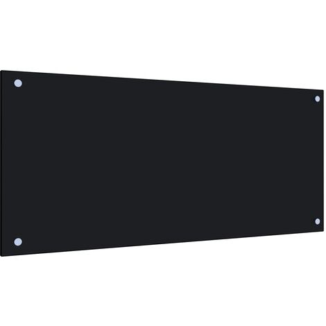 Kitchen Backsplash Black 90x40 cm Tempered Glass