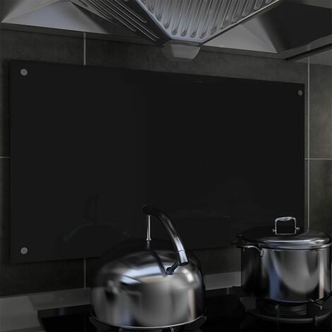 Kitchen Backsplash Black 90x50 cm Tempered Glass