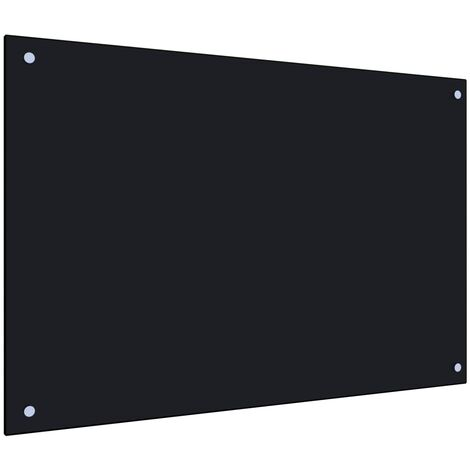 Kitchen Backsplash Black 90x60 cm Tempered Glass