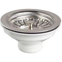 """Kitchen basin drain dopant sink waste strainer basket leach plug steel 90mm 6/4"""""""