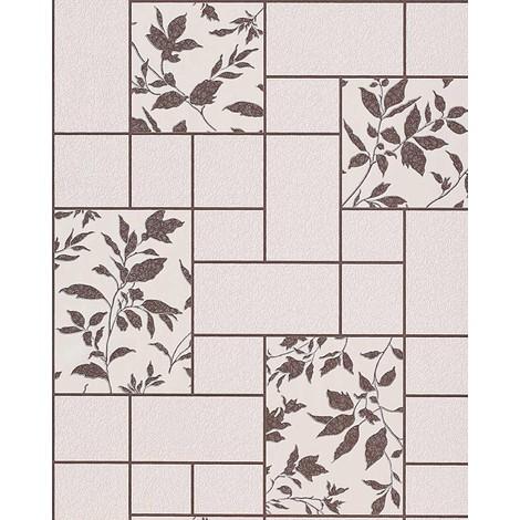 Kitchen bath vinyl wallpaper wall modern tile floral decor EDEM 146-23 beige cream brown 5.33 sqm (57 sq ft)
