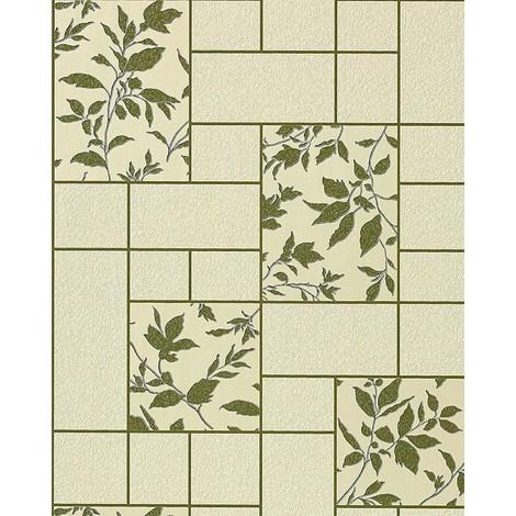 Kitchen bath vinyl wallpaper wall modern tile floral decor EDEM 146-25 beige-green olive silver glitter| 5.33 sqm (57 sq ft)