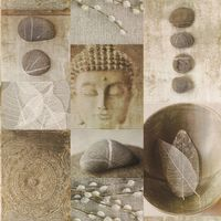 Kitchen Bathroom Buddha Tile Wallpaper Washable Vinyl Leaf Pebble Shiny Rasch