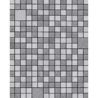 Kitchen bathroom wallpaper wall EDEM 1033-16 vinyl wallpaper embossed with geometric shapes and metallic highlights silver platinum grey 5.33 m2 (57 ft2)