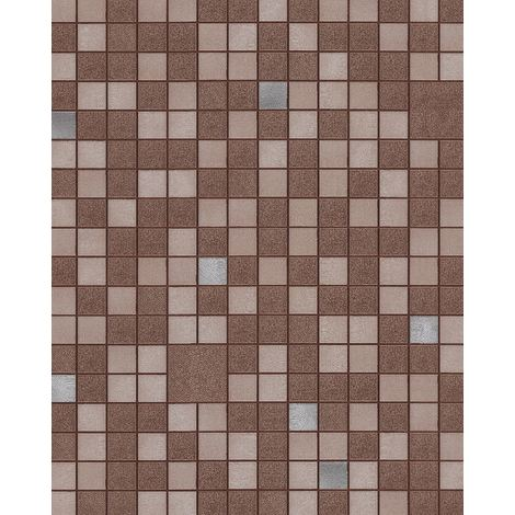 Kitchen bathroom wallpaper wall EDEM 1033-17 vinyl wallpaper embossed with geometric shapes and metallic highlights brown beige silver 5.33 m2 (57 ft2)