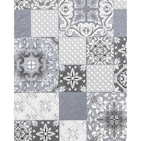 """main image of """"Kitchen bathroom wallpaper wall EDEM 87001BR10 vinyl wallpaper slightly textured with tile pattern and metallic highlights grey anthracite white silver 5.33 m2 (57 ft2)"""""""