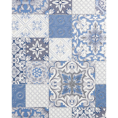 Kitchen bathroom wallpaper wall EDEM 87001BR12 vinyl wallpaper slightly textured with tile pattern and metallic highlights blue light grey white silver 5.33 m2 (57 ft2)