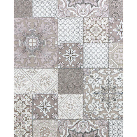 Kitchen bathroom wallpaper wall EDEM 87001BR13 vinyl wallpaper slightly textured with tile pattern and metallic highlights beige taupe white silver 5.33 m2 (57 ft2)