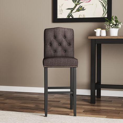 "main image of ""Kitchen Breakfast Barstool Linen Fabric Padded Seat Dark Brown"""