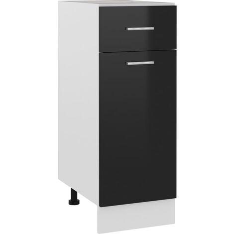 Kitchen Cabinet High Gloss Black 30x46x81.5 cm Chipboard