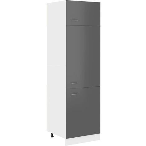 Kitchen Cabinet High Gloss Grey 60x57x207 cm Chipboard