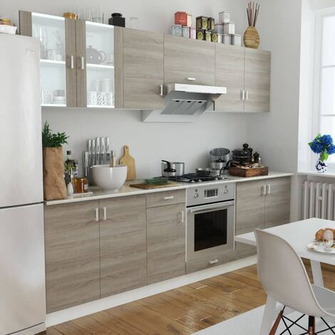 Kitchen Cabinet Unit 8 Pieces Oak Look