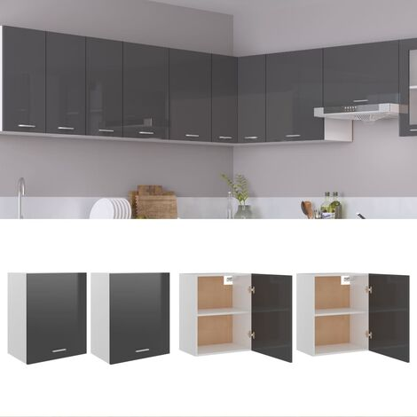 Kitchen Cabinets 2 pcs High Gloss Grey 50x31x60 cm Chipboard
