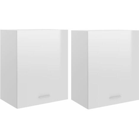 Kitchen Cabinets 2 pcs High Gloss White 50x31x60 cm Chipboard
