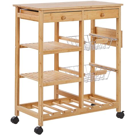 Kitchen Cart Bamboo Light Wood 2 Drawers with Wheels Wine Rack Trolley Morino