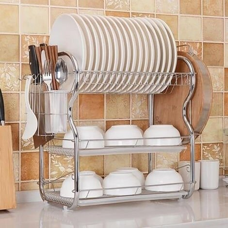 """main image of """"Kitchen Chrome Dish Drainer Cutlery Cup Plates Holder Sink Rack Drip Tray 3 Tier"""""""