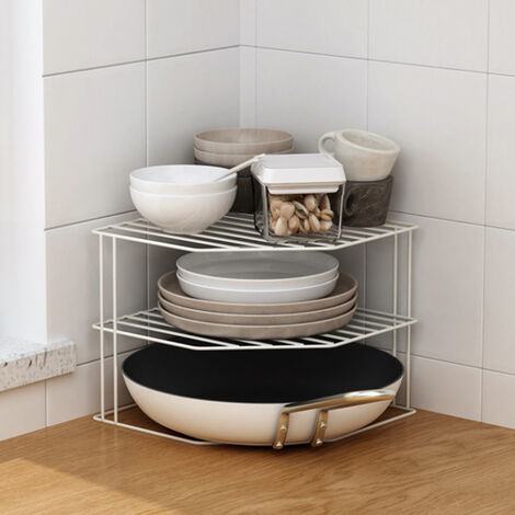 Kitchen Corner Shelf 3 Tier Cupboard Worktop Plate Rack Compact Organizer Shelf White