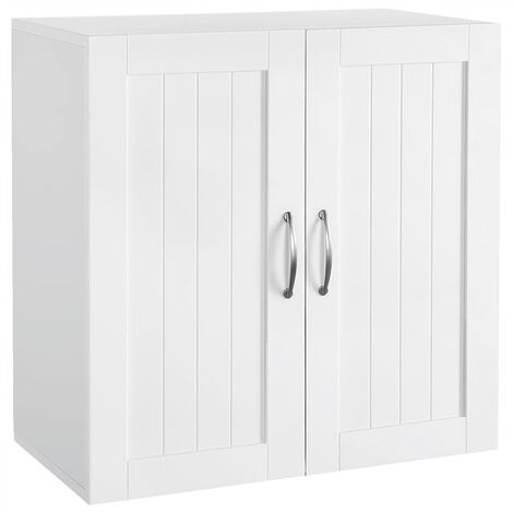 Kitchen Cupboard Storage Organiser/Unit with Double Door and Adjustable Shelf Bathroom Wall Cabinets White, 59.5x31x59.5cm