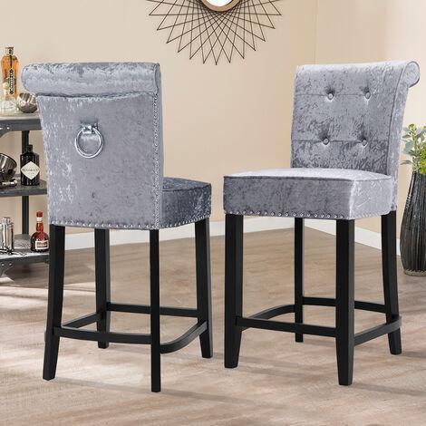 "main image of ""Kitchen Dining Chair Velvet Breakfast Stool Reception Counter Seat"""