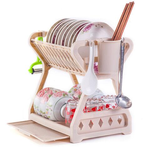 """main image of """"Kitchen Drainer Retractable Bowl Dinnerware Dinnerware Drainage Storage Rack Organizer Shelf (Coffee)"""""""