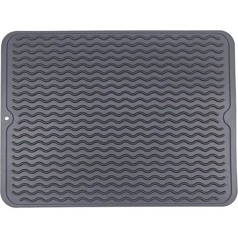 Kitchen Drying Mat, Dish Drainer Mat, Eco-friendly Silicone Drying Mat, Heat Resistant, Non-slip and Dishwasher Safe 40x30cm