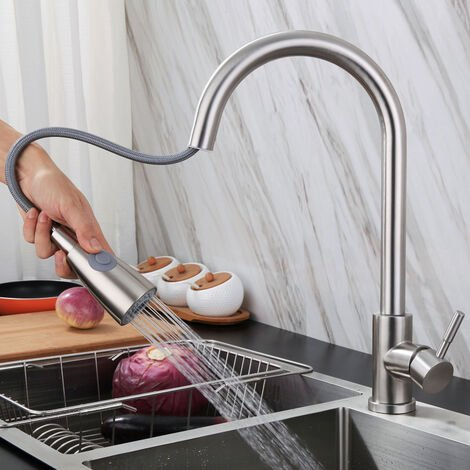 """main image of """"Kitchen Faucet, High Arc Sink Faucet with Extendable Spray, 360 ° Rotating Sink Mixer with 3 Spray Modes Stainless Steel Kitchen Mixer Tap"""""""