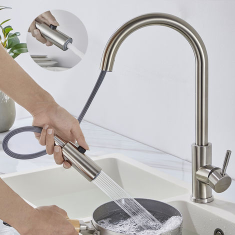 Kitchen Faucet with Pull-Out Spray, WOOHSE Single Lever Sink Mixer with 360 ° Swivel Spout with 2 Jets Extendable Mixer Tap in Stainless Steel Brushed Nickel Finish Anti-oxidation