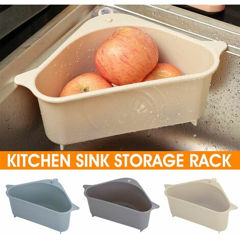 Kitchen Filter Triangular Sink Kitchen Drain Shelf Household Drainer (Beige)