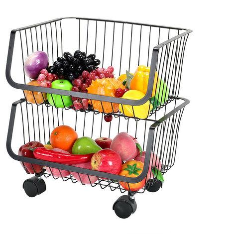 Kitchen Fruit Vegetable Holder Rack Trolley Iron Storage Organizer With Wheels