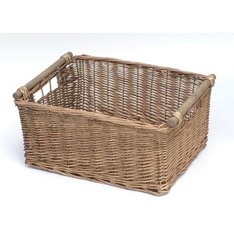 "main image of ""Natural Kitchen Log Fireplace Wicker Storage Basket Xmas Hamper (4 Sizes)"""