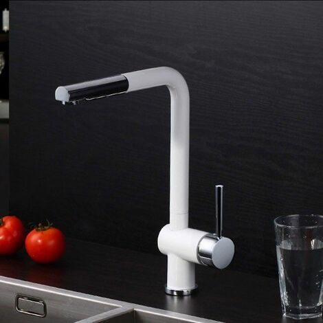 Kitchen mixer in white chrome with retractable spout and extractable hose