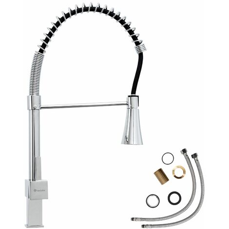Kitchen mixer tap with LED lighting & detachable spray - faucet tap, kitchen tap, kitchen mixer tap - grey