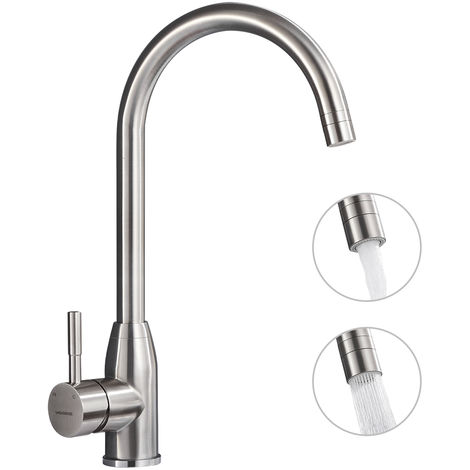 Kitchen Mixer with 2 Types of Jets 360 ° Rotating Single Lever Mixer Kitchen Mixer Stainless Steel Sink Mixer Single Lever Mixer Sink Mixer Hot and Cold Washbasin Mixer Brushed Sink