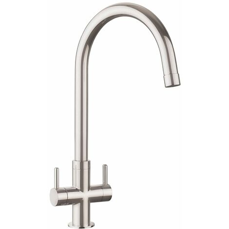 Kitchen Monorise Mono Mixer Tap Lever Swivel Spout Swan Neck Brushed Twin Handle