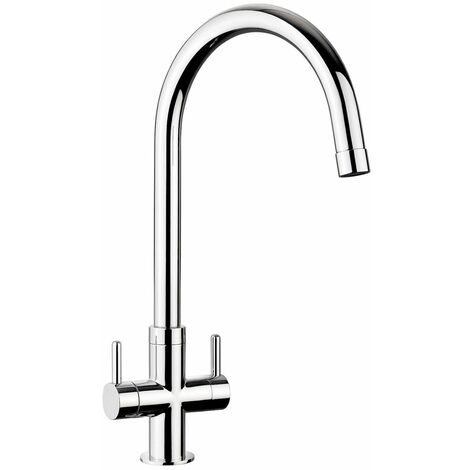 Kitchen Monorise Mono Mixer Tap Lever Swivel Spout Swan Neck Chrome Twin Handle