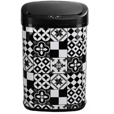 KITCHEN MOVE Poubelle de cuisine automatique 58 L - Inox - Motif carreau de ciment - Noir et Blanc