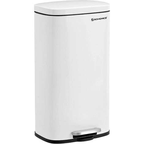 Kitchen Rubbish Bin, Pedal Trash Can 30L, with Plastic Inner Bucket, Hinged Lid, Soft Closure, Odour Proof and Hygienic, White LTB03WT