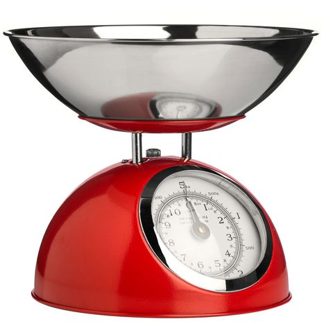 Kitchen Scale,Red/Stainless Steel Bowl,5kg