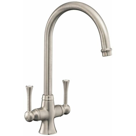 Kitchen Sink Basin Dual Lever Mono Traditional Brushed Mixer Tap Swivel Spout