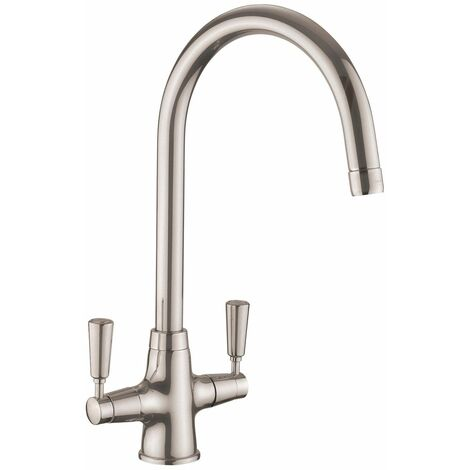 Kitchen Sink Basin Dual Lever Mono Traditional Mixer Tap Swivel Spout Brushed