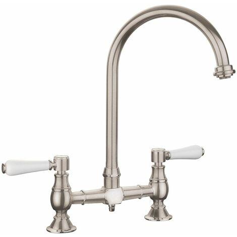 Kitchen Sink Bridge Tap Lever Swivel Spout Mono Brushed White Mixer Twin Handle